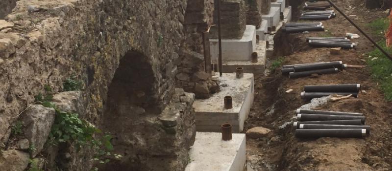 micropali con tubi camicia in muratura in pietra